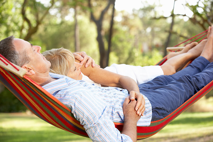 Happy couple relaxing after LASIK