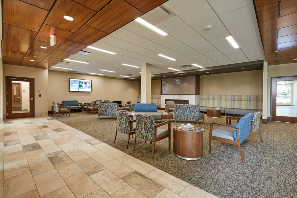 MN Eye Consultants - Lobby Fireplace Area