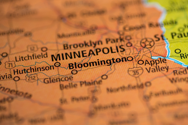 Map of Minnesota featuring Bloomington and Minneapolis