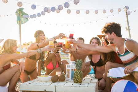 Young People Partying on the Beach