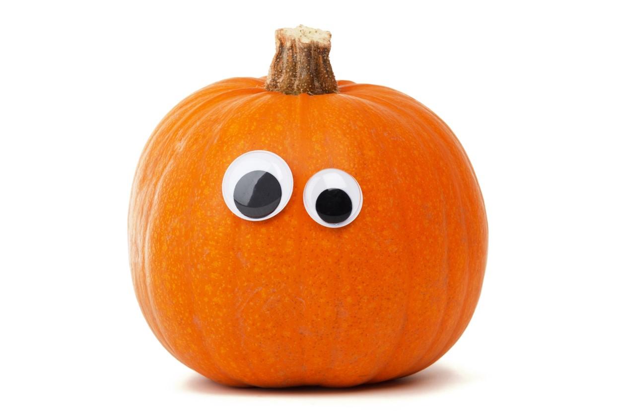 Seasonal Pumpkin with googly eyes